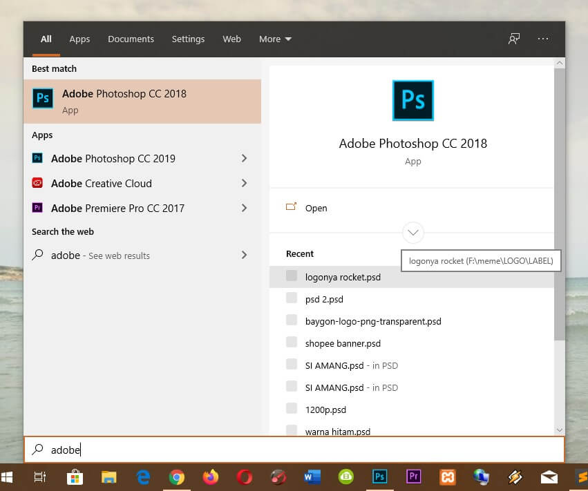 buka software adobe photoshop