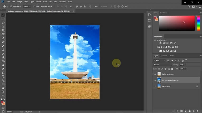 import gambar langit anime ke adobe photoshop