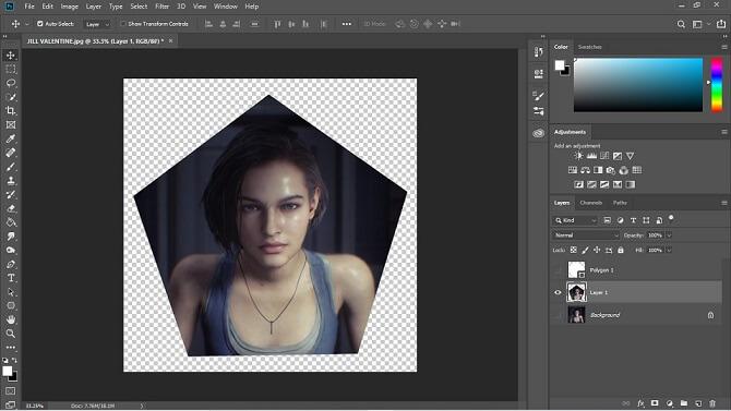 hilangkan ikon mata pada layer background dan layer polygon