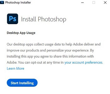 klik start installing software adobe Photoshop