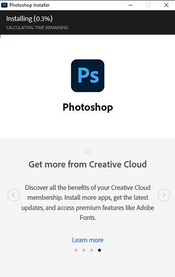 kemudian tunggu photoshop download dan install